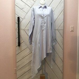 Frank & Eileen Striped Shirt Dress Asymmetrical